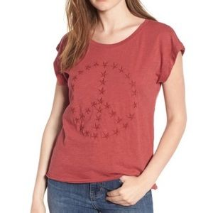 Lucky Brand Peace Sign Embroidered Star Tee